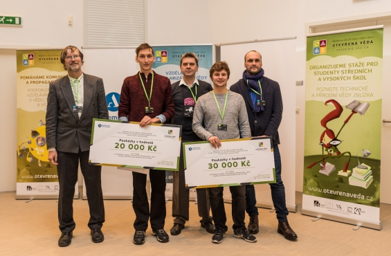 Josef Kučera when awarding the prize for the 2nd place in the I. science field (second from left)